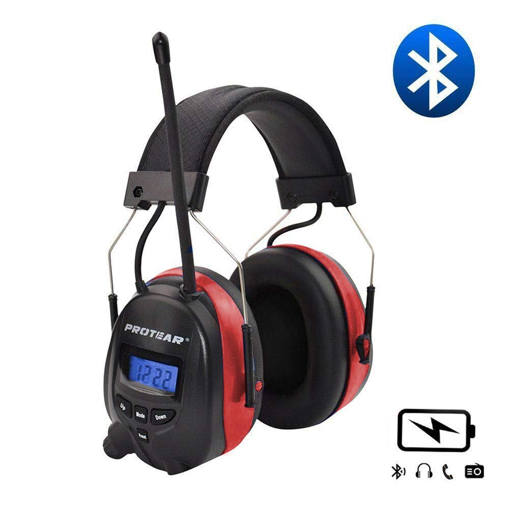 Protear Wireless Bluetooth Headphones Over Ear AM/FM Radio Safety Earmuffs, with Rechargeable Lithium Battery & Built-in Mic, NRR 25dB Noise Cancelling Ear Protector Headphones For Working,red