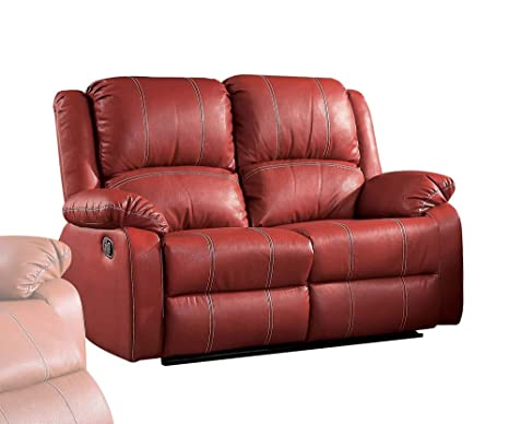 Surprising Acme Zuriel Red Faux Leather Reclining Loveseat Evergreenethics Interior Chair Design Evergreenethicsorg