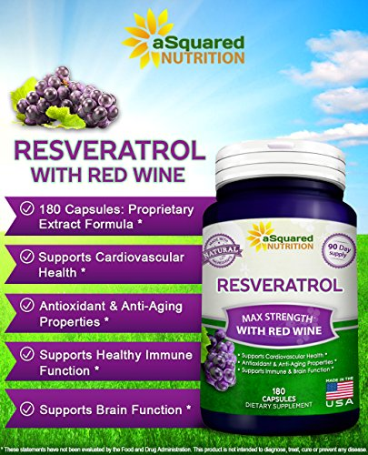 Pure Resveratrol with Red Wine Exact - 180 Capsules - Natural Trans Resveratrol Antioxidant Supplement Pills for Weight Loss Heart amp Immune Health - Extra Strength Trans-Resveratrol for Anti Aging Discount