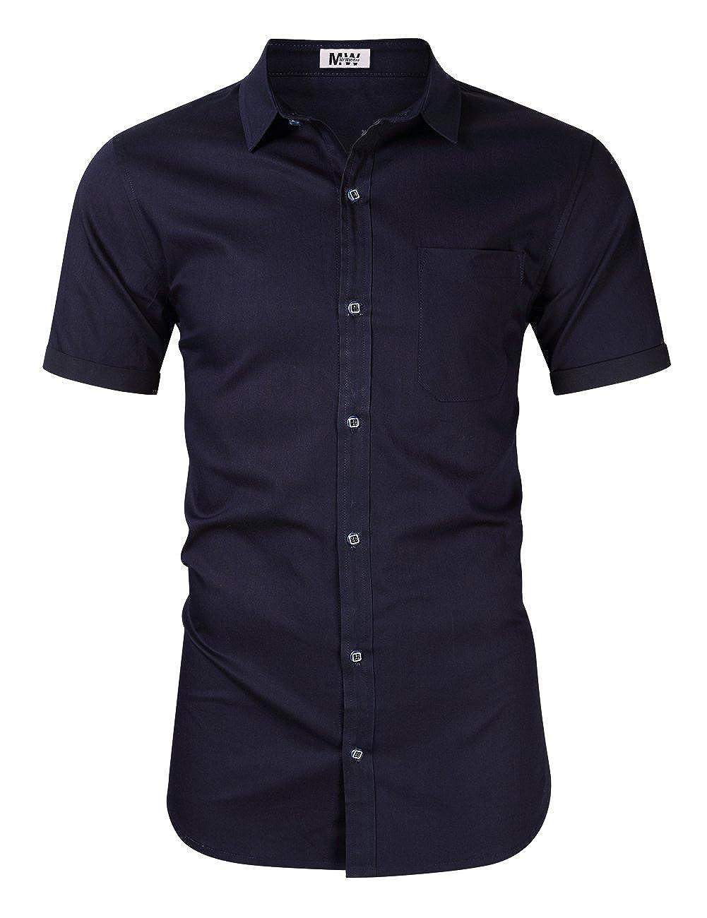 c44effa6 MrWonder Men's Casual Slim Fit Button Down Dress Shirt Short Sleeve Denim  Shirts Jean Shirt at Amazon Men's Clothing store: