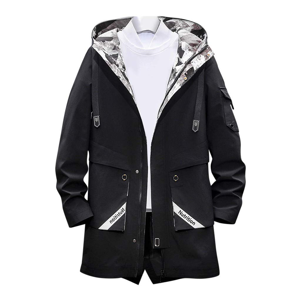 Opinionated Men's Autumn and Winter Casual Long Hoodies Outdoor Sports Windbreaker Jacket Casual Hip hop Loose Coat Black by Opinionated