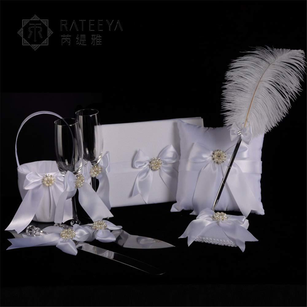 Wedding Flower Basket Lace Bow Bridal Wedding Six-Piece Set Sign-in Pen Flower Basket Ring Pillow Wine Glass Knife Shovel Set Wedding Accessory (Color : White)