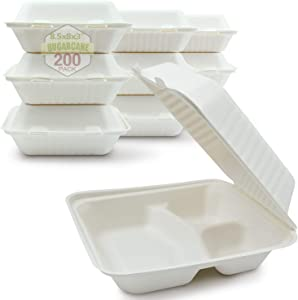 Green Earth 8-Inch, 200-Count, 3-Compartment, Compostable Clamshell, Natural Bagasse (Sugarcane Fiber), Take-Out/to-Go Food Boxes - Biodegradable Containers, Hinged Lid - Microwave-Safe - Gluten-Free