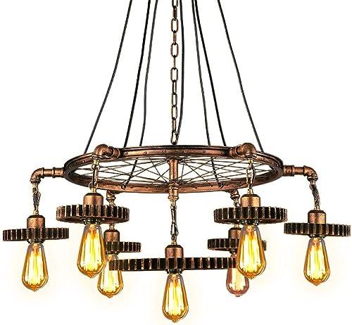 JinYuZe 7 Lights Industrial Ceiling Pendant Light,Retro Loft Metal Large Chandelier Pendant Lighting,Antique Bra