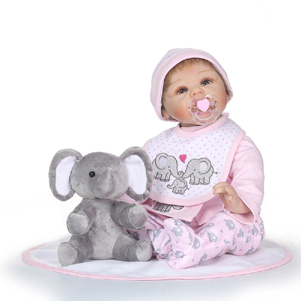 Nicery Reborn Baby-Puppe Weich Simulation Silikon Vinyl 55,9 cm 48–55 cm Kinder Freund magnetisch Mund lebensechte Vivid Boy Girl Spielzeug mit Outfit für Thanksgiving schwarz Freitag Christmas Day Grau Elefant Puppe B12
