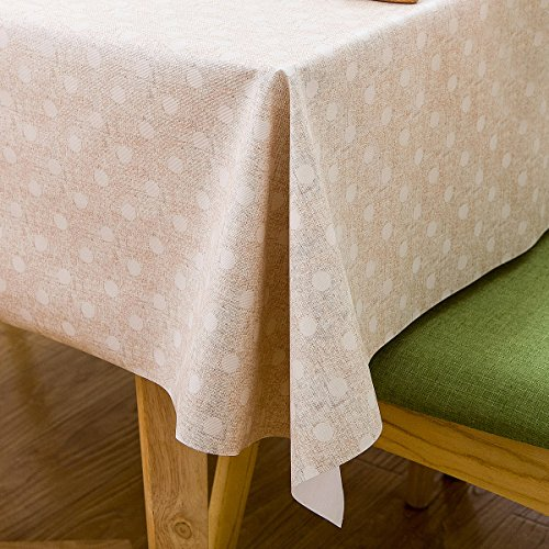 Vinyl Oilcloth Tablecloth for Rectangle Tables Wipeable Oil-Proof Waterproof PVC Tablecloth Beige and White Polka Dot 54 x 84 Inch