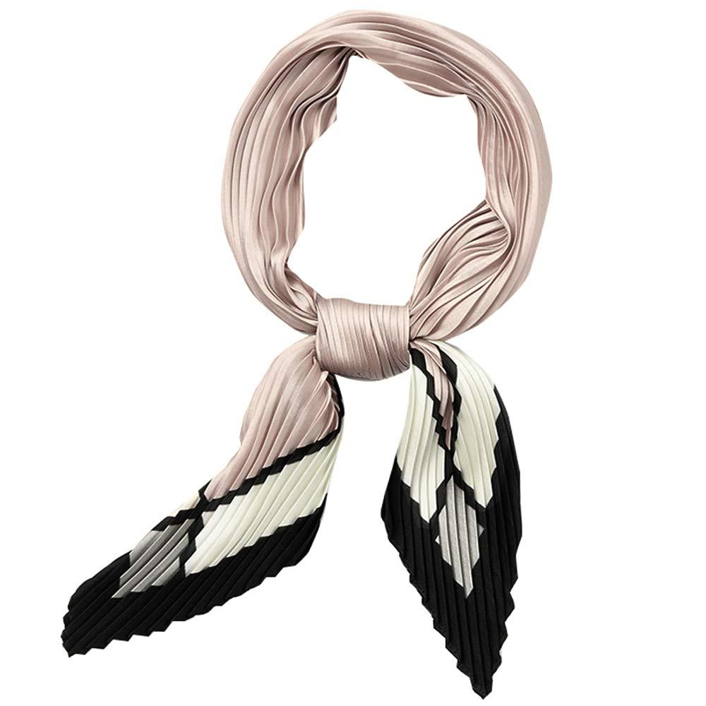 GERINLY Womens Neckerchife Pleated Plaid Silk Like Scarf Retro Spring Skinny Head Scarfs (Champagne)
