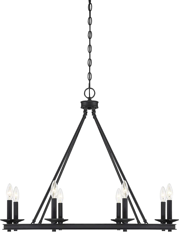 Savoy House 1-308-8-89 Middleton 8-Light Matte Black Modern Farmhouse Industrial Circular Ring Shaped Chandelier (33