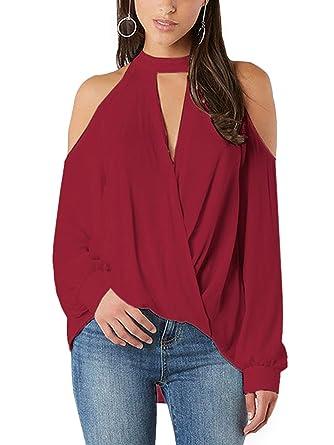YOINS Women Blouse Crossed Front Design Cold Shoulder V-Neck Lantern  Sleeves Top Burgundy XS 50900265f