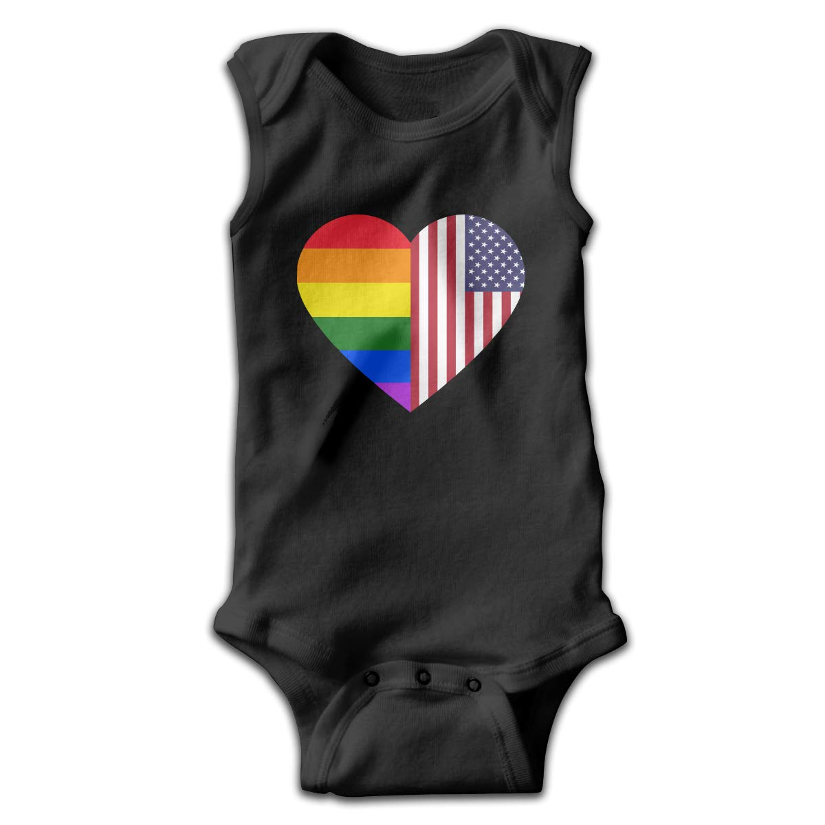 LGBT Rainbow American Flag Heart Baby Boys Girls Infant Crawling Suit Sleeveless Romper Bodysuit Rompers
