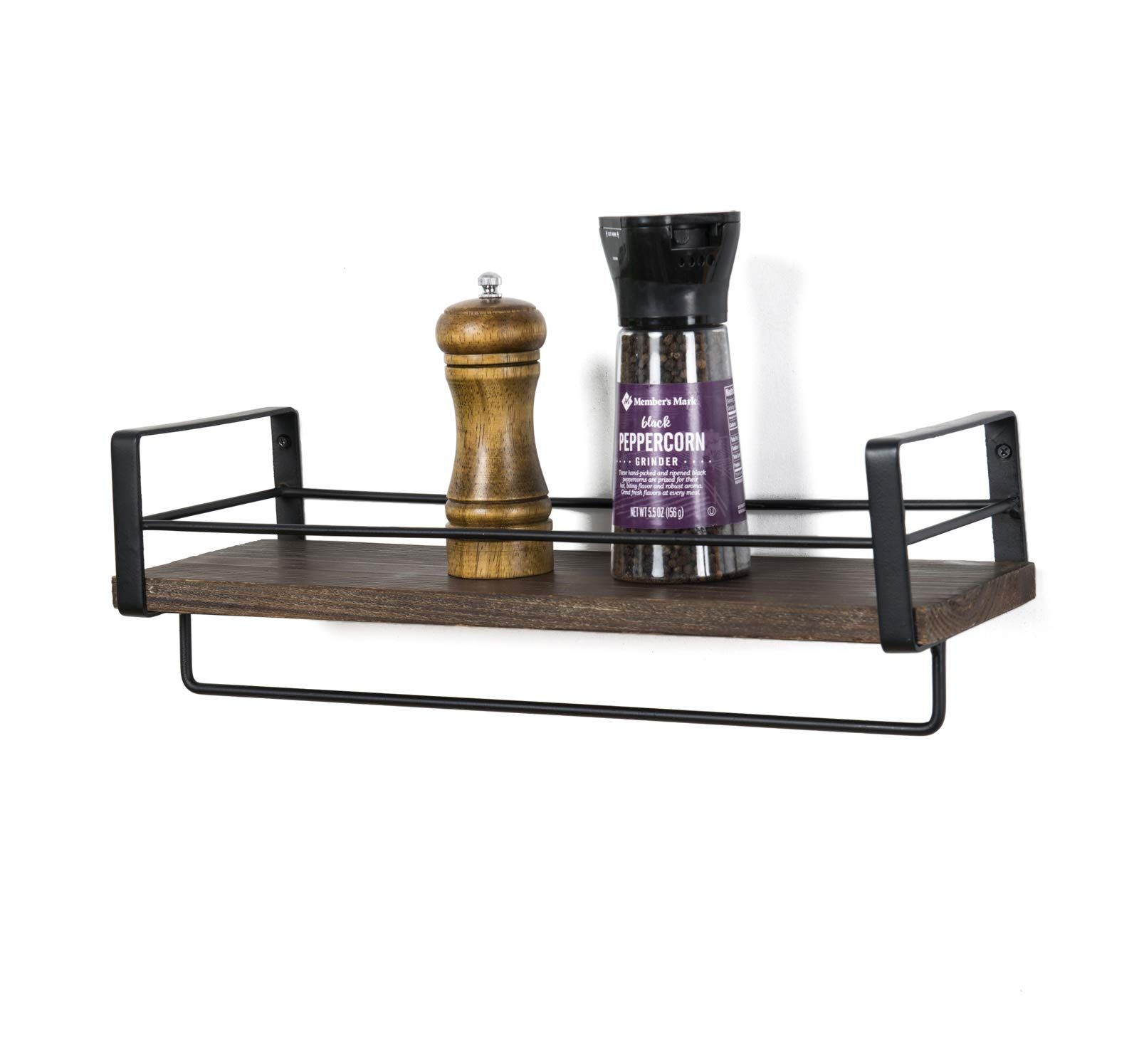 SODUKU Rustic Kitchen Wood Wall Shelf, Spice Rack Shelf with Towel Bar,Wood and Metal Floating Shelves Wall Mounted Toilet Storage Shelf for Kitchen Bathroom Bedroom Living Room - STURDY STRUCTURE- Simple design rustic wood shelves constructed of solid paulownia wood boards and powder coated metal brackets.Lightweight but solid wood can holds up to 50 lbs. EASY INSTALLATION - There comes with necessary durable hardware tool,super easy to assemble on the wall.The rustic wood shelves overall dimension: 16.33''L X 5.6''W X 5.9''H EFFICIENT SPACE SAVER - Our rustic wood wall shelf offers a large space for storage and can display in your kitchen, living room, bedroom, bathroom, entryway and more. Creates ample shelf space in unused areas of the home,perfect solution for compact areas. - wall-shelves, living-room-furniture, living-room - 61MIkgRiJcL -