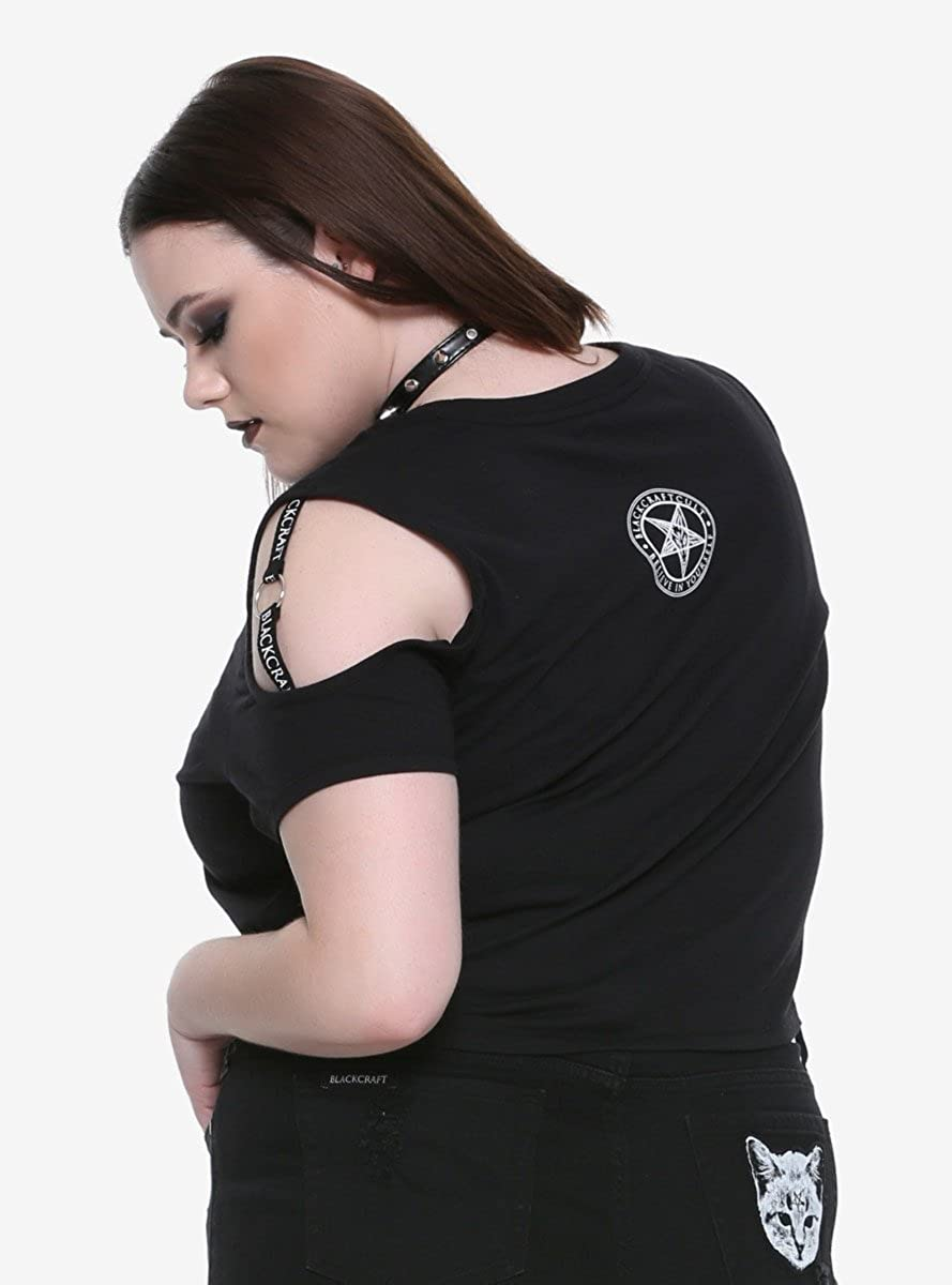 2a128100da689 Hot Topic BlackCraft Harness Cold Shoulder Girls Crop Top Plus Size  Exclusive at Amazon Women s Clothing store
