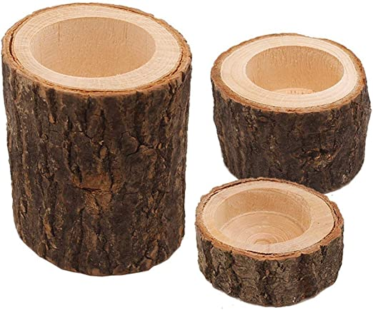 HEMFV Macetas de Troncos, artesanía de Madera decoración Creativa Corteza de Madera Pila de Velas Titular de la decoración del hogar Meaty pequeña Maceta Hecha a Mano: Amazon.es: Hogar