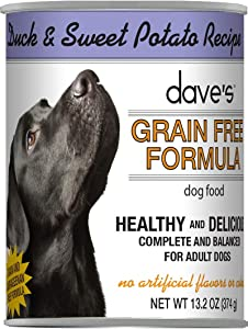 Dave's Grain-Free Dog Food - Wet Canned Dog Food - Duck & Sweet Potato - Case of 12, 13oz Cans