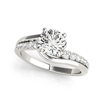 0 75 Ct Round Cut Moissanite Diamond Engagement Ring 925 Sterling