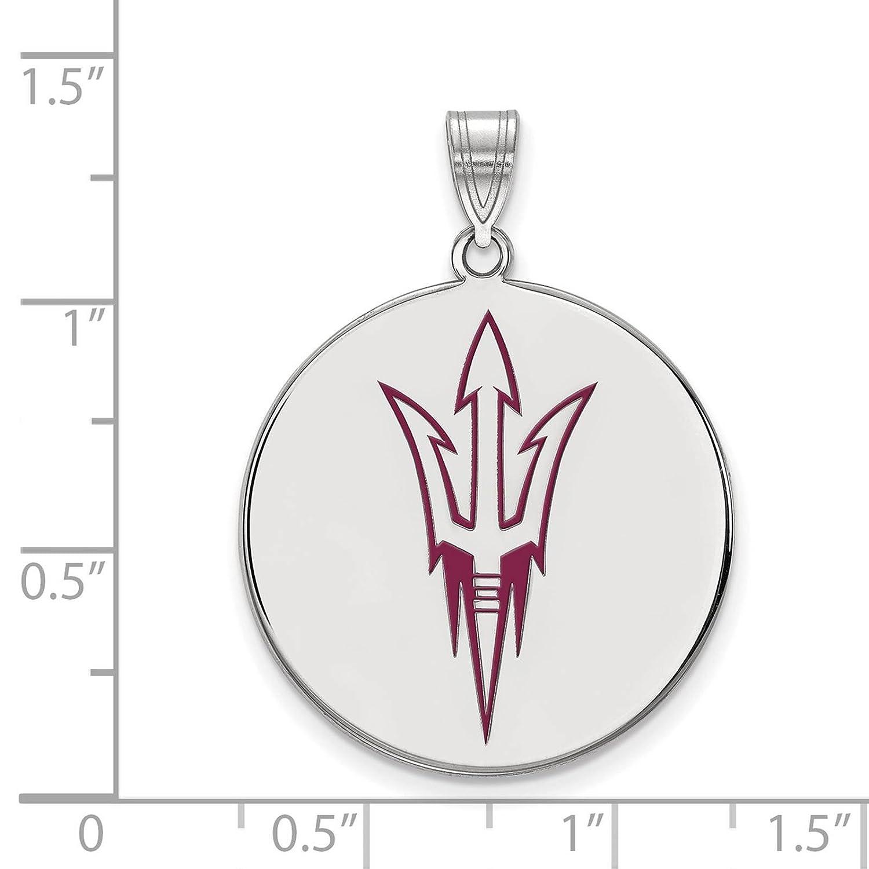 925 Sterling Silver Rhodium-plated Laser-cut Arizona State University XL Enameled Disc Pendant