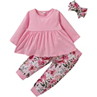 RCPATERN Newborn Baby Girls Clothes Fall Infant Outfits Set Long Sleeve Cotton Bodysuit Top + Pint Pants + Hat 3Pcs