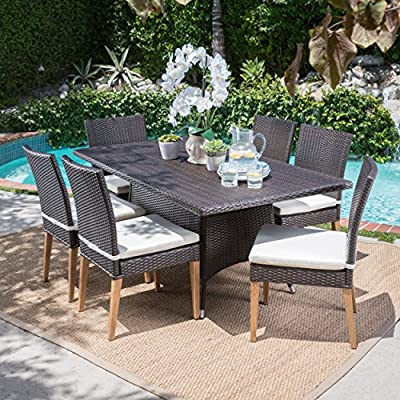 Christopher Knight Home Santa Monica Outdoor Rectangular 7 Piece Multibrown Wicker Dining Set with Beige Water Resistant Cushions -  - patio-furniture, dining-sets-patio-funiture, patio - 61MIlw m6SL. SS400  -