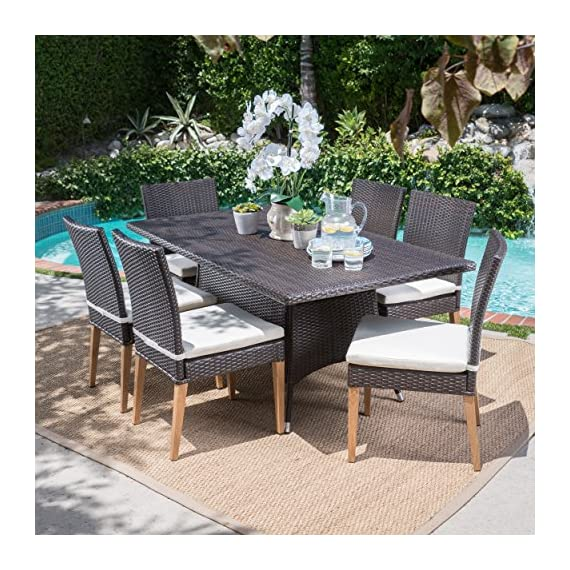 Christopher Knight Home Santa Monica Outdoor Rectangular 7 Piece Multibrown Wicker Dining Set with Beige Water Resistant Cushions -  - patio-furniture, dining-sets-patio-funiture, patio - 61MIlw m6SL. SS570  -