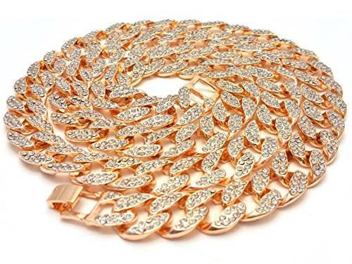 Out Gold Hip Hop Chain (Mens Iced Out Hip Hop Rose Gold CZ Miami Cuban Link Chain 8