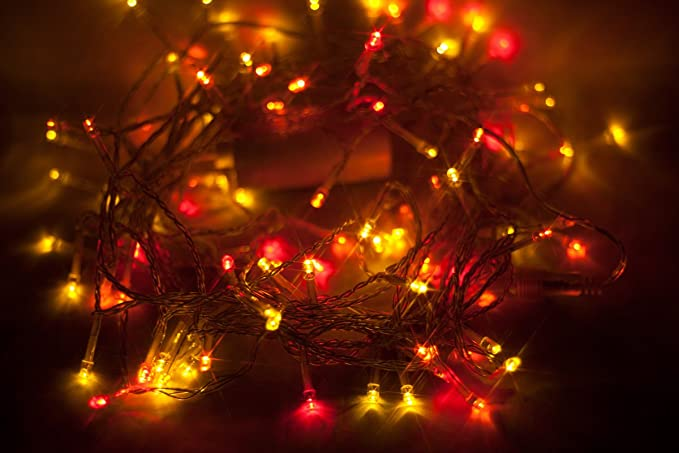 100 led multi colour sunset lights red orange and yellow leds - Orange Coloured Christmas Tree Decorations