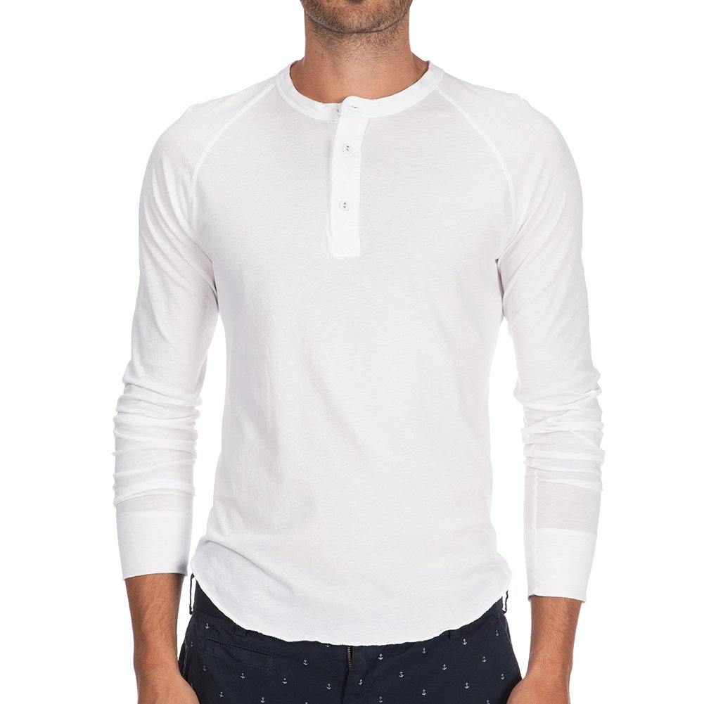 Save Khaki Men's L/S Pointelle Henley Shirt SK013-PT White SZ S