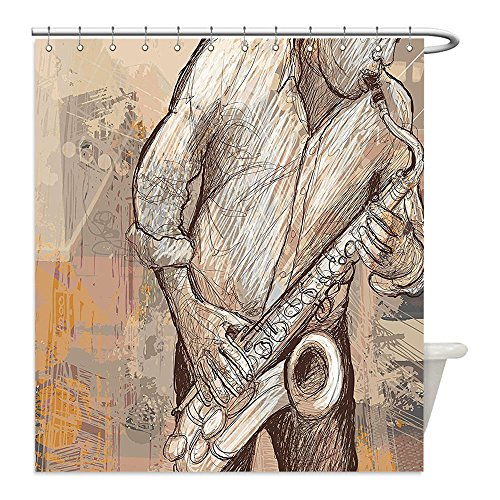 Diy Red Solo Cup Costume (Liguo88 Custom Waterproof Bathroom Shower Curtain Polyester Jazz Music Decor Jazz Musician Playing the Saxophone Solo in the Street on Grunge Background Art Print Decor Brown Ecru Decorative bathro)