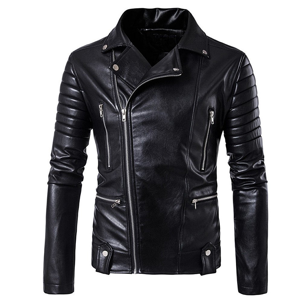 QJH Men's Slim Causal Motorcycle Leather Jacket With Multi-Pockets(More Sizes Available)