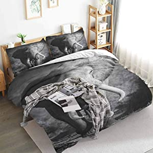 HouseLookHome Bedding Set Majestic Bull Approaching Photo Exotic Wild Habitat Mammal Art Print Safari Bed Sets with 2 Pillow Cases Grey Queen Duvet Cover Set