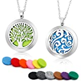 """2PCS Aromatherapy Essential Oil Diffuser Necklace Two Patterns Pendant Locket Jewelry,23.6""""Adjustable Chain Stainless Steel Perfume Necklace"""