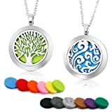 "Amazon Price History for:2PCS Aromatherapy Essential Oil Diffuser Necklace Two Patterns Pendant Locket Jewelry,23.6""Adjustable Chain Stainless Steel Perfume Necklace"