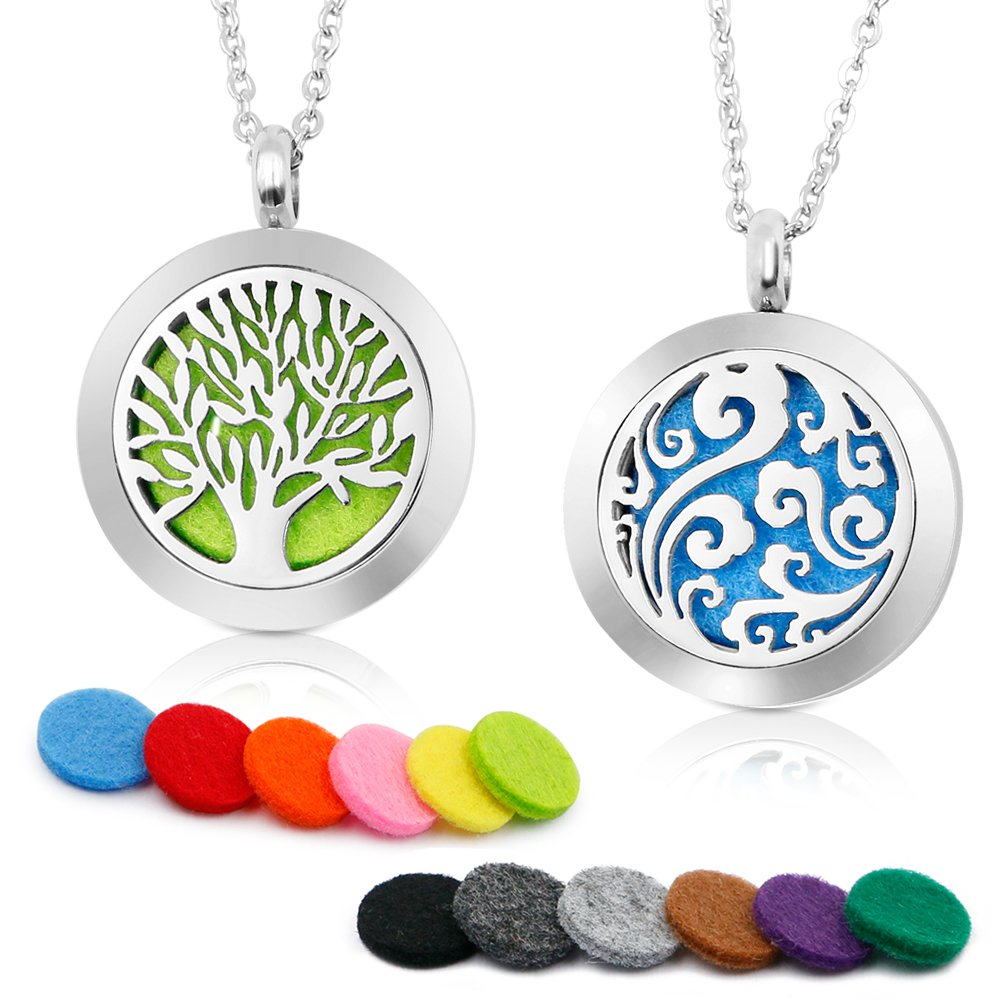 RoyAroma 2PCS Aromatherapy Essential Oil Diffuser Necklace Two Patterns Pendant Locket Jewelry,23.6''Adjustable Chain Stainless Steel Perfume Necklace