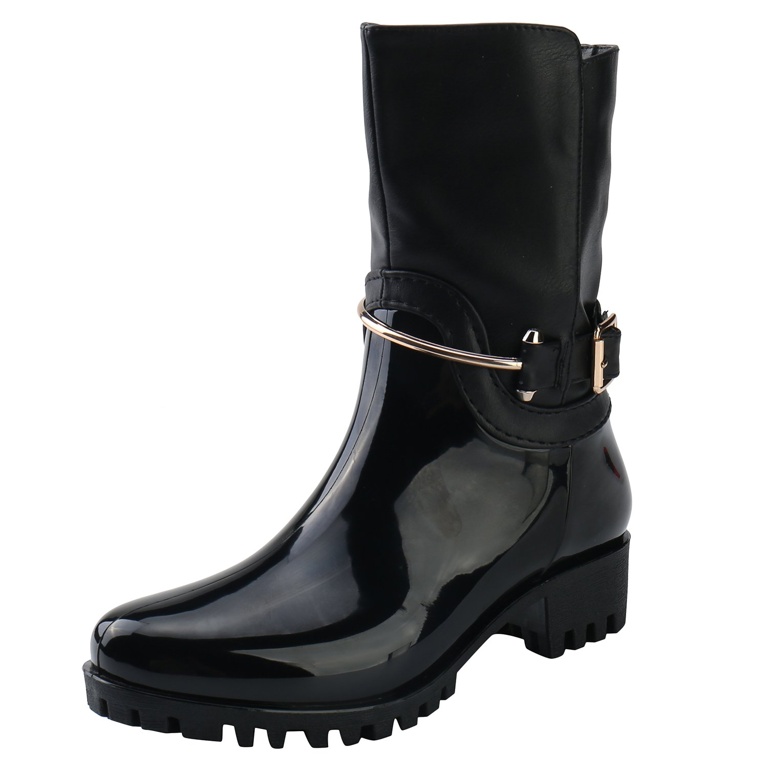 Alexis Leroy Women Stylish Mid Calf Adjustable-Strap Side Zip Heeled Rubber Rain Boots B074FS36RH 37 M EU / 6-6.5 B(M) US|New Black