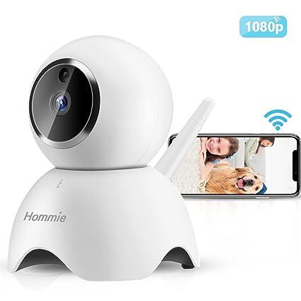 Hommie IP Cámara de Vigilancia, Cámara WiFi HD 1080P con IR Visión Nocturna, Audio