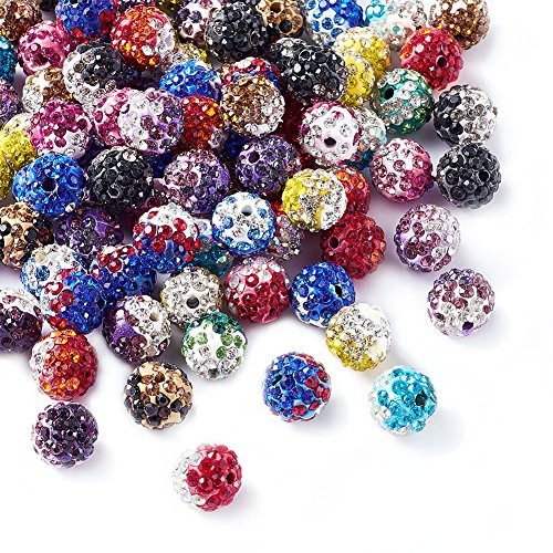 Beadthoven 100pcs 10mm Mixed Color Glass Rhinestone Clay Pave Round Beads, Disco Rhinestone Crystal Shamballa Beads for Jewelry Making (Gradient Color)