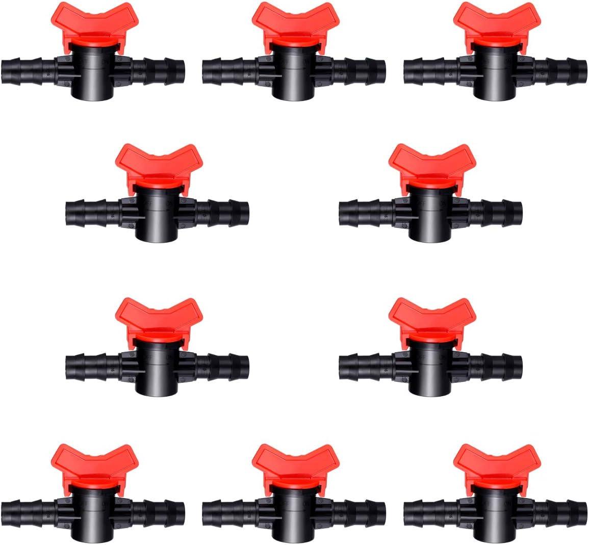 Yardwe 10 Pack Drip Irrigation Barbed Ball Valve 16mm 1/2 Inch Drip Irrigation Tubing Shut-Off Valve Drip Irrigation Parts