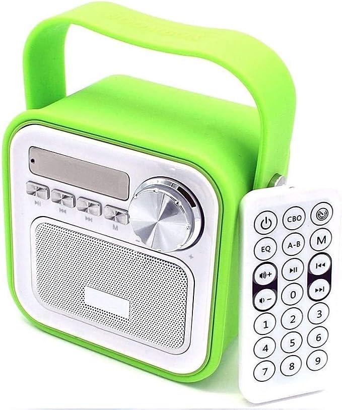 Mini Bluetooth altavoz con radio FM en verde │ AUX Bluetooth USB Conector Mando a distancia Reloj Tiempo Radio para cocina Baño Radio Niños Radio ...