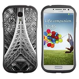 LASTONE PHONE CASE / Suave Silicona Caso Carcasa de Caucho Funda para Samsung Galaxy S4 I9500 / Tower Paris Black White Photo