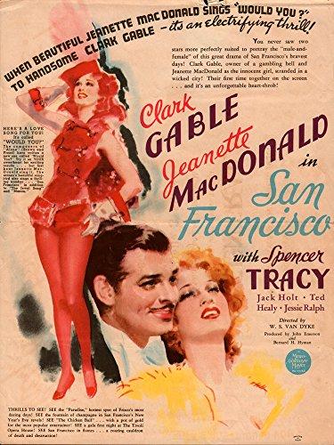 SAN FRANCISCO original movie herald 1936 Clark Gable,Jeanette MacDonald