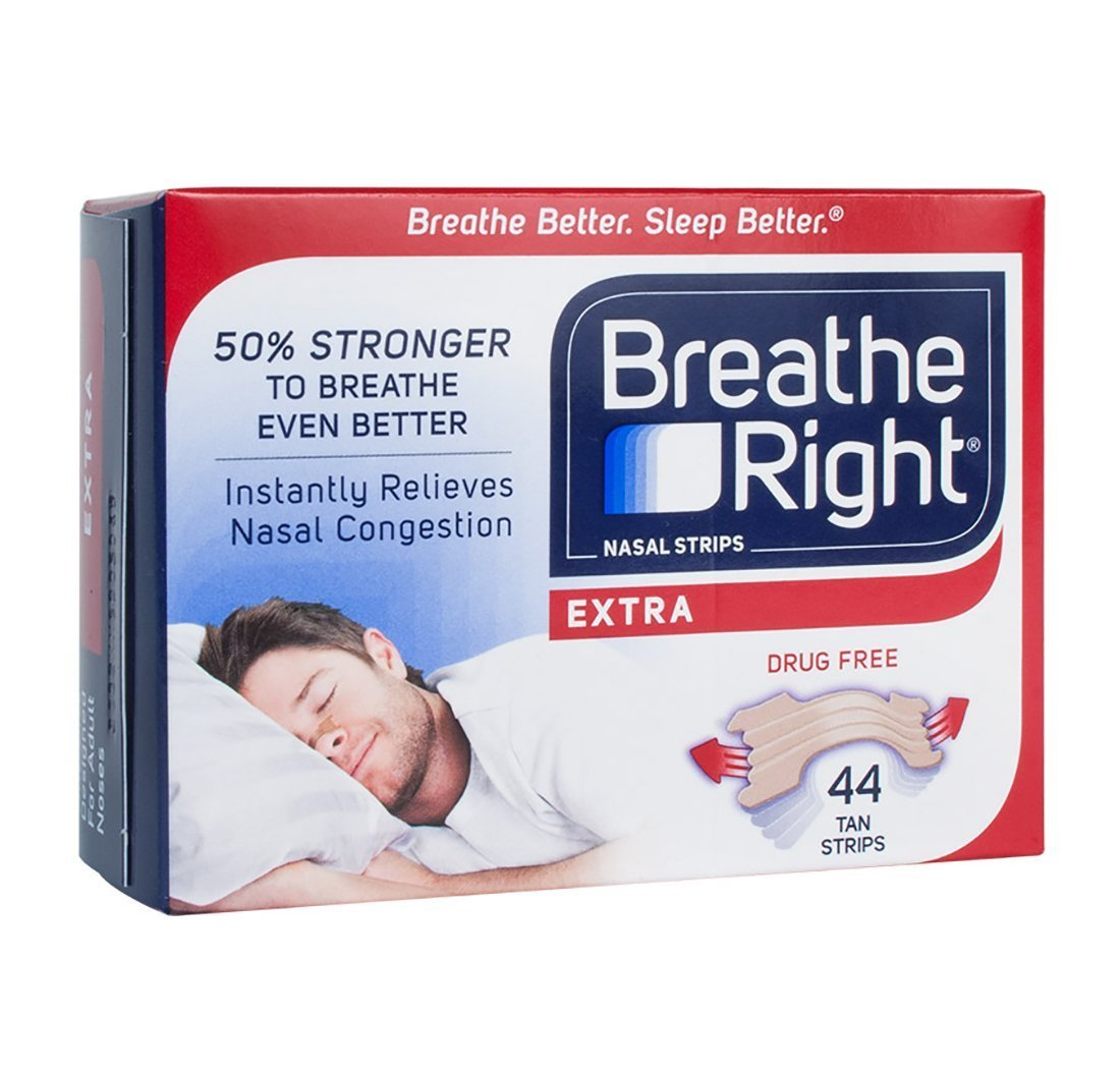 Breathe Right Extra Strong, One Size Fits All Nasal Strips, 44 Count - Tan (Pack of 2)