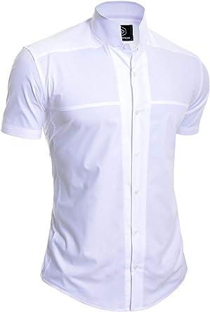 Camisa de Sin Cuello Mao para Hombre Manga Corta Formal Vacaciones ...