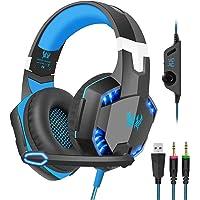 Auriculares para juegos con micrófono para PC, PS4, Xbox One, auriculares para colocar sobre las orejas con control de…