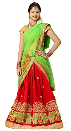 ae3932b99f Eazhil Fashions Girls Half Saree pattu Pavadai dhavani Green (36 ...