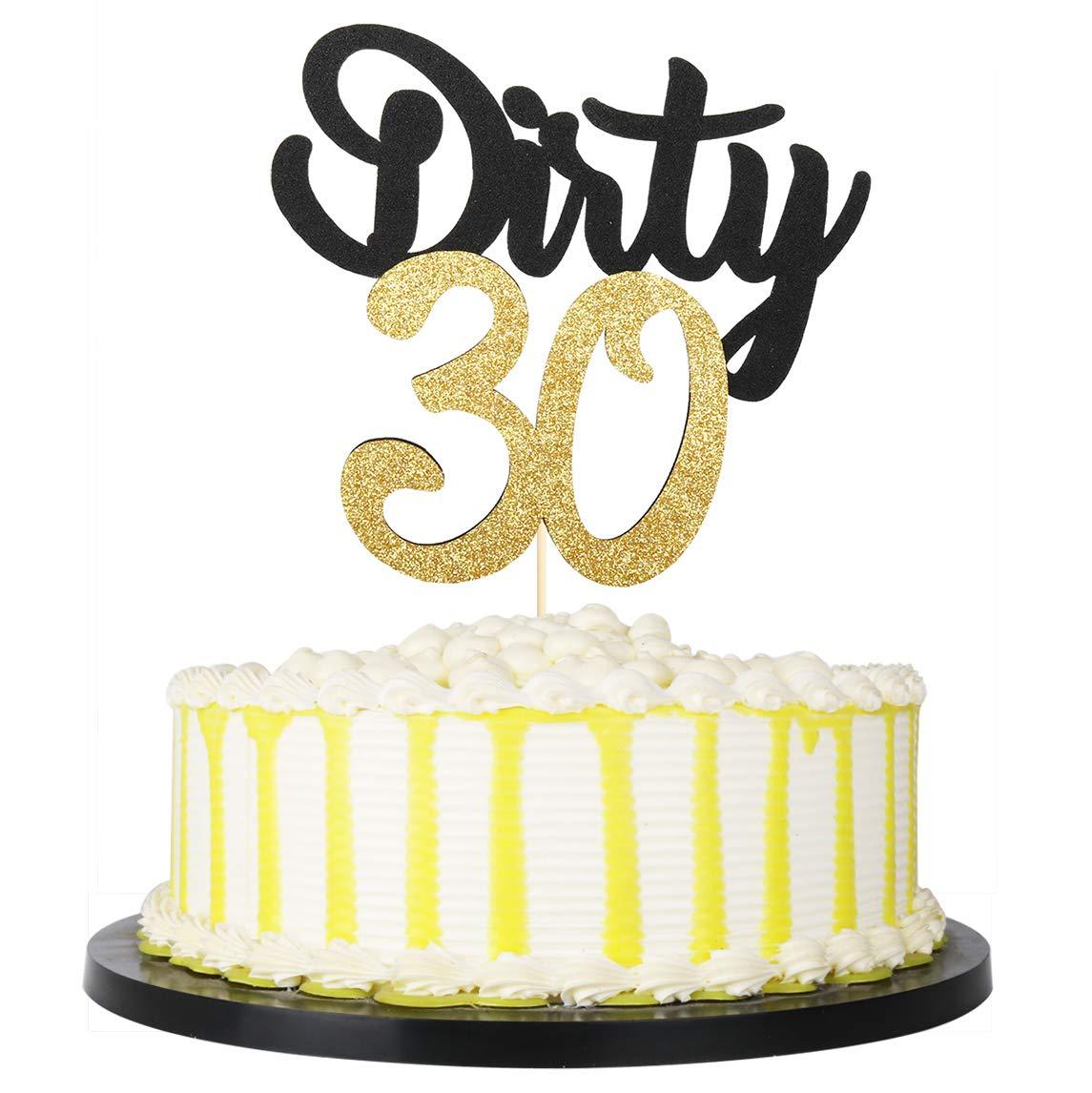 Glitter Cake Topper Thirtieth Birthday Decor 30 Cake Topper Dirty Thirty Cupcake Toppers Dirty 30 Dirty Thirty Cake Topper