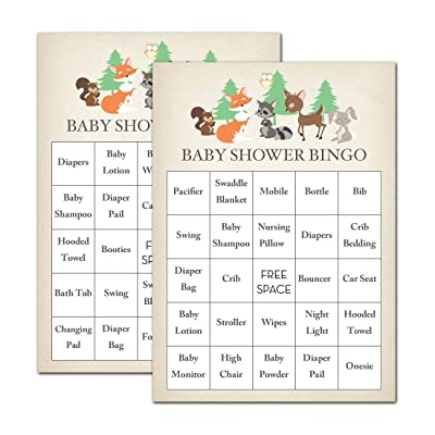 InvitationHouse Woodland Animals Baby Shower Bingo Cards - Prefilled - Set of 24: Toys & Games