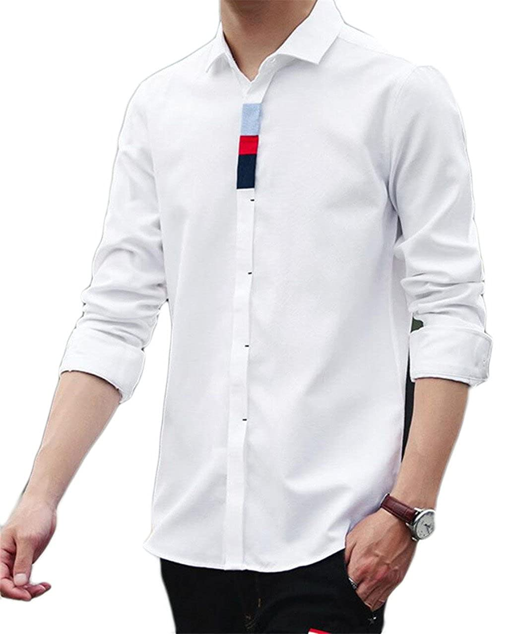 xiaohuobanMen xiaohuoban Mens Fashional Casual Button Up Shirts Long Sleeved Pure Color Baggy Dresses Shirts