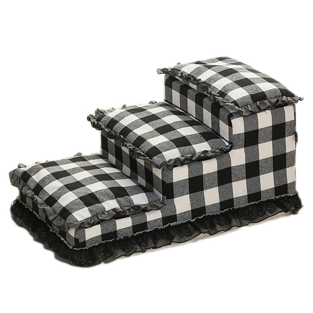 LXLA 3 Steps Pet Stairs, Dogs Ladder in Black and White Plaid, Perfect for Sofa and High Bed 63 × 40 × 30cm