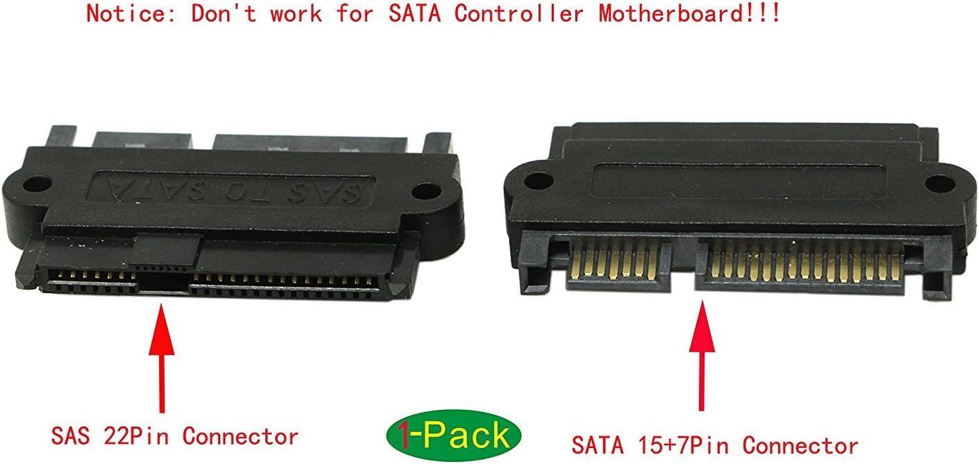 Cgtime SAS 22 Broches vers 7 Broches 15 Broches Disque Dur SATA Raid Adaptateur avec 15 Broches dalimentation Port-Right Angle /à 90 degr/és