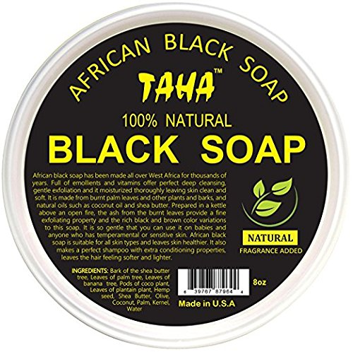 TAHA 100% Natural African Black Soap Paste - Natural - Raw Organic Soap for Blemishes, Acne, Dry Scalp - Rich in Vitamins & Antioxidants - Cleanse, Exfoliate & Moisturize 8oz