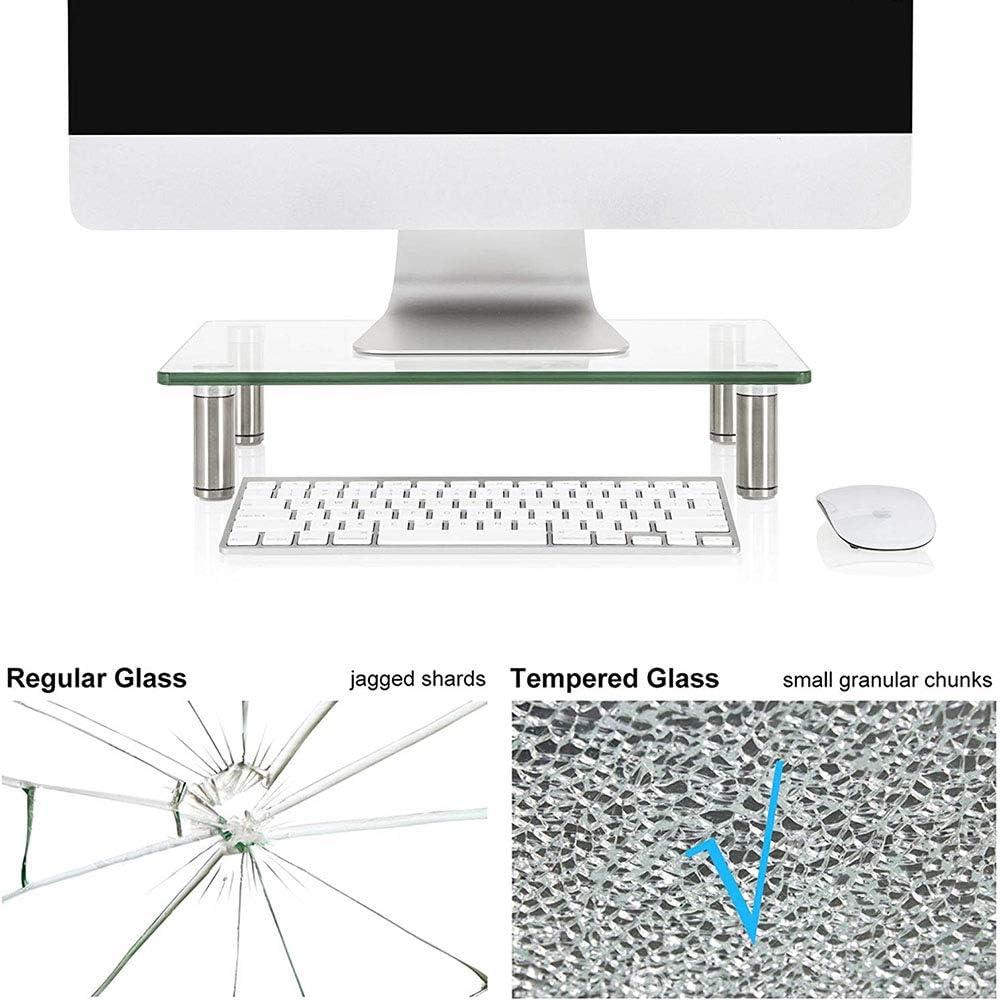 VIVOCFan Tempered Glass Monitor Riser Stand,Ergonomic Computer Riser Stand,Height Adjustable Laptop Riser Holder,for Monitors Component Flat Screen Tv Transparent 56x24cm 22x9inch